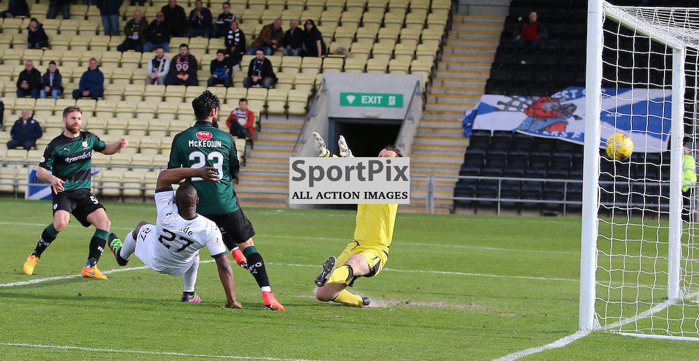Christian Nade Scores for Dumbarton during the Dumbarton v Raith Rovers Scottish Championship 16 April 2016<br /> <br /> (c) Andy Scott | SportPix.org.uk