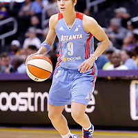 08 August 2014: Atlanta Dream guard Celine Dumerc (9) is seen during the Los Angeles Sparks 80-77 overtime win over the Atlanta Dream, at the Staples Center, Los Angeles, California, USA.