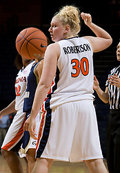 Virginia Cavaliers F/C Abby Robertson (30)..The Virginia Cavaliers women's basketball team fell to the #14 ranked George Washington Colonials 70-68 at the John Paul Jones Arena in Charlottesville, VA on November 12, 2007.