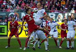 23.04.2010, Fritz Walter Stadion, Kaiserslautern, GER, 2. FBL, 1. FC Kaiserslautern vs FC Hansa Rostock, im Bild von links Srdjan Lakic (FCK), Tim Sebastian (Rostock), EXPA Pictures © 2010, PhotoCredit: EXPA/ A. Neis / SPORTIDA PHOTO AGENCY