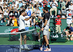 March 18, 2018 - Indian Wells, USA - Indian Wells - Palm Desert - California - Juan Martin Del Potro Argentina Roger Federer Suisse (Credit Image: © Panoramic via ZUMA Press)