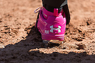 A close up view of the pink cleat used by Manny Machado #13 of the Baltimore Orioles on Mother's Day against the Minnesota Twins on May 12, 2013 at Target Field in Minneapolis, Minnesota.  The Orioles defeated the Twins 6 to 0.  Photo: Ben Krause