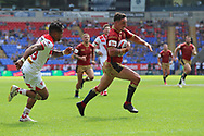 Tony Gigot of Catalans Dragons breaks through the St Helens defence before scoring the third try during the Ladbrokes Challenge Cup Semi Final match at the Macron Stadium Stadium, Bolton.<br /> <br /> Picture by Michael Sedgwick/Focus Images Ltd +44 7900 363072<br /> <br /> 05/08/2018