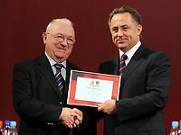 Fotball<br /> Russland søker fotball-VM 2018 / 2022<br /> Foto: Witters/Digitalsport<br /> NORWAY ONLY<br /> <br /> 09.10.2009<br /> <br /> v.l. Nikita Simonian (ehemaliger Nationalspieler), Vitaliy Mutko (Sportminister und Praesident Russischer Fussballverband)<br /> Offizielle Zeremonie zum Auftakt der Bewerbung Russlands fuer die FIFA Fussball WM 2018/ 2022 im Kaufhaus GUM