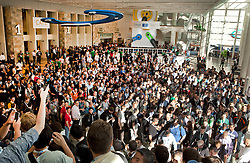 Thousands of attendees arrive at Moscone West for the annual 3-day  Google I/O 2012 Developer Conference in San Francisco, California.