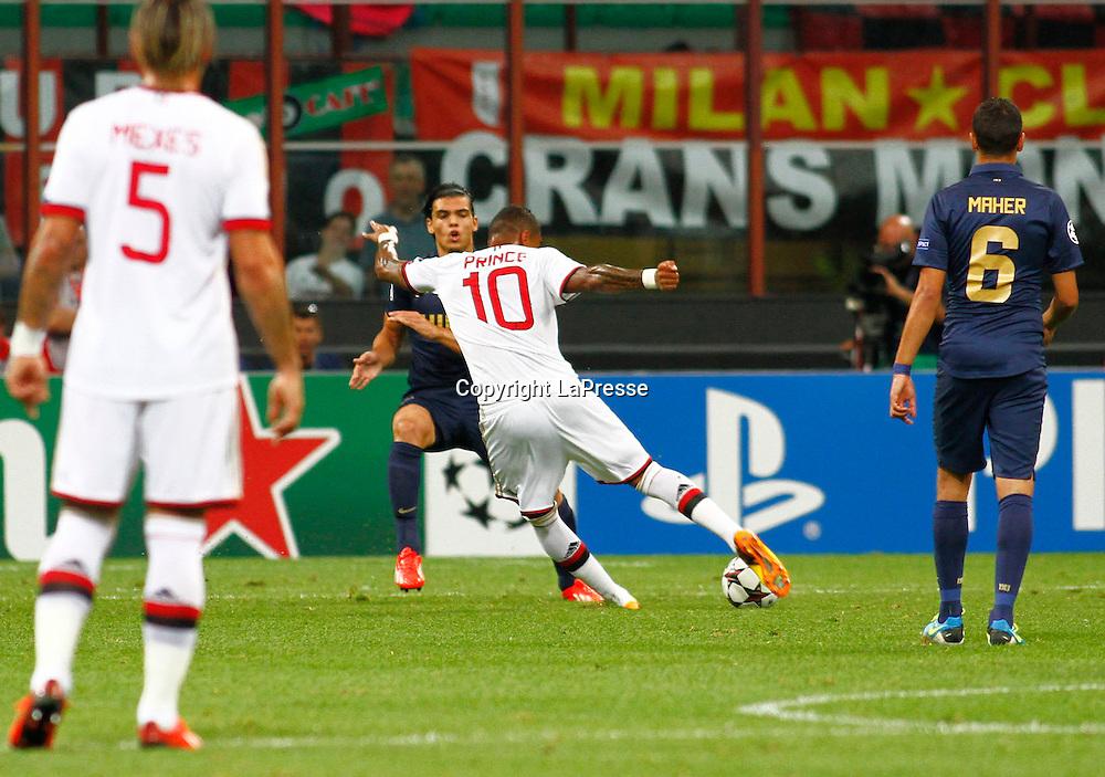 Foto Spada - LaPresse<br /> 28 08 2013 Milano, Italia<br /> UEFA Champions League 2013/2014 - Milan vs. PSV Eindhoven  <br /> Nella foto:  Boateng gol 1-0 <br /> <br /> Photo Spada - LaPresse<br /> 28 08 2013 Milan, Italy<br /> UEFA Champions League 2013/2014 - Milan vs. PSV Eindhoven <br /> In the pic:  Boateng goal 1-0
