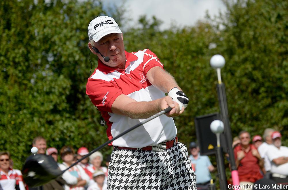 DK Caption:<br /> 20140815, Aars, Danmark:<br /> Made in Denmark Golf. 2. runde: David Edwards laver Golf Trick Show ved driving Range<br /> Foto: Lars M&oslash;ller<br /> UK Caption:<br /> 20140815, Aars, Denmark:<br /> Made in Denmark Golf.  2nd round: David Edwards  making his Golf Trick Show<br /> Photo: Lars Moeller