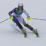 Winter Olympics, Vancouver, 2010. Denise Karbon, Italy,  in action in the Alpine Skiing Ladies Slalom at Whistler Creekside, Whistler, during the Vancouver Winter Olympics. 24th February 2010. Photo Tim Clayton