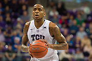 FORT WORTH, TX - FEBRUARY 6: Malique Trent #3 of the TCU Horned Frogs shoots a free-throw against the Kansas Jayhawks on February 6, 2016 at the Ed and Rae Schollmaier Arena in Fort Worth, Texas.  (Photo by Cooper Neill/Getty Images) *** Local Caption *** Malique Trent