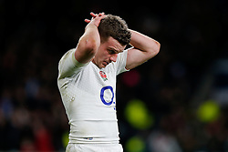 Fly-Half George Ford looks dejected after England win the match but come up just 6 points short of winning the Six Nations Championship - Photo mandatory by-line: Rogan Thomson/JMP - 07966 386802 - 21/03/2015 - SPORT - RUGBY UNION - London, England - Twickenham Stadium - England v France - 2015 RBS Six Nations Championship.