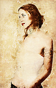 Digitally enhanced portrait of a young caucasian woman, with tattoos on neck and arm