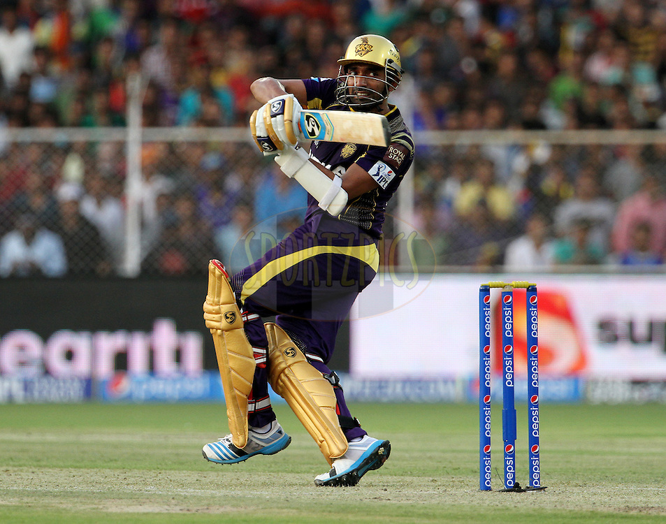 Robin Uthappa of the Kolkata Knight Riders plays a shot during match 25 of the Pepsi Indian Premier League Season 2014 between the Rajasthan Royals and the Kolkata Knight Riders held at the Sardar Patel Stadium, Ahmedabad, India on the 5th May  2014<br /> <br /> Photo by Vipin Pawar / IPL / SPORTZPICS      <br /> <br /> <br /> <br /> Image use subject to terms and conditions which can be found here:  http://sportzpics.photoshelter.com/gallery/Pepsi-IPL-Image-terms-and-conditions/G00004VW1IVJ.gB0/C0000TScjhBM6ikg