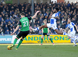 Ellis Harrison of Bristol Rovers tries to prevent a clearance from Cameron Burgess of Scunthorpe United - Mandatory by-line: Neil Brookman/JMP - 24/02/2018 - FOOTBALL - Memorial Stadium - Bristol, England - Bristol Rovers v Scunthorpe United - Sky Bet League One