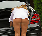 EXCLUSIVE - Danielle Mason show her bum while returning from weekend away
