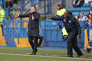 Sheffield Wednesday Manager Carlos Carvalhal and Queens Park Rangers Manager Jimmy Floyd Hasselbaink  during the EFL Sky Bet Championship match between Sheffield Wednesday and Queens Park Rangers at Hillsborough, Sheffield, England on 22 October 2016. Photo by Simon Davies.