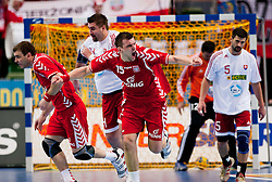 14.01.2011, Scandinavium, Göteborg, SWE, IHF Handball Weltmeisterschaft 2011, Herren, Polen vs Slovakei, im Bild, // Polen Poland 15 Michat JURECKI celebrates after scoring in the first half // during the IHF 2011 World Men's Handball Championship match Poland vs Slovakia at Scandinavium in Gothenburg. EXPA Pictures © 2011, PhotoCredit: EXPA/ Skycam/ Per Friske +++++ ATTENTION - OUT OF SWEDEN/SWE +++++