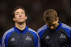 Manchester, England - Tuesday, March 13, 2007: Liverpool players Robbie Fowler and Steven Gerrard before appearing for a Europe all-star XI against Manchester United during the UEFA Celebration Match at Old Trafford. (Pic by David Rawcliffe/Propaganda)