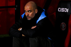 Manchester City manager Pep Guardiola slumps in his chair - Mandatory by-line: Robbie Stephenson/JMP - 21/01/2020 - FOOTBALL - Bramall Lane - Sheffield, England - Sheffield United v Manchester City - Premier League