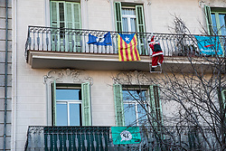 Independantist catalan flag. Following the referendum of October 2017, judged illegal by Madrid, Catalonia was led to vote again. Voters moved massively in the polls, but without the fervor of the previous autumn. Photos by Patrick Batard / ABACAPRESS.com