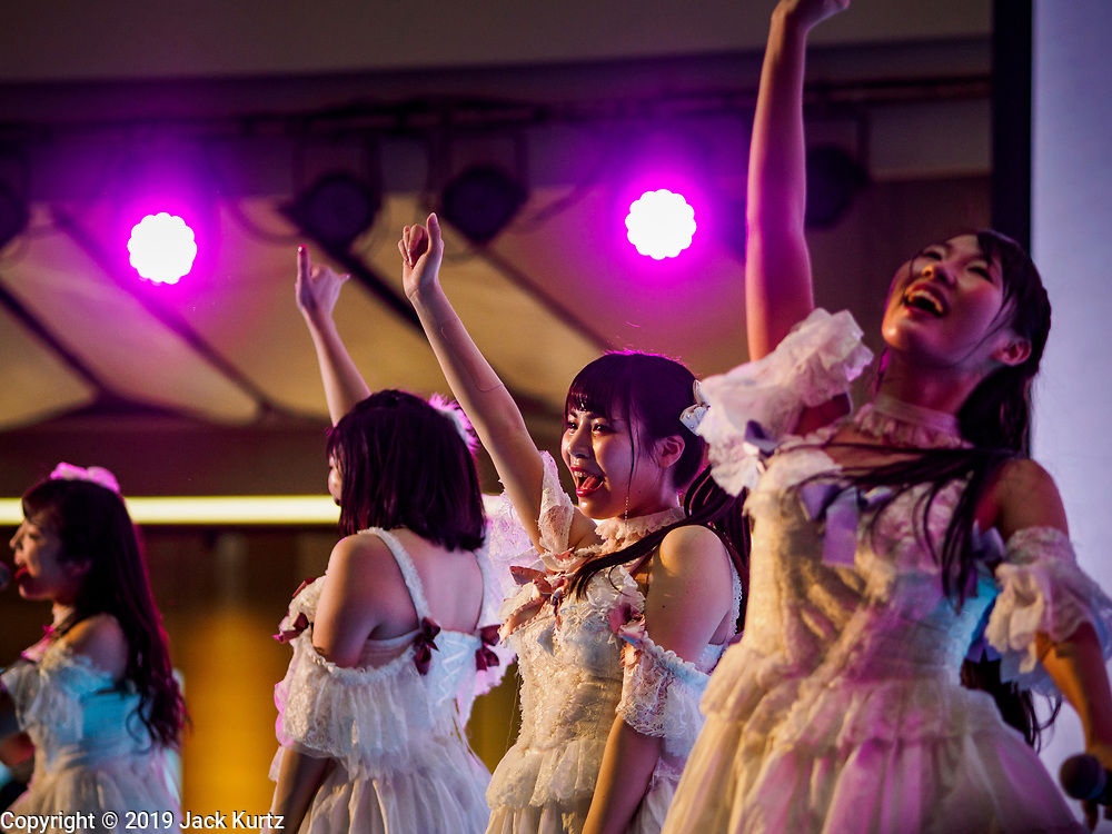 """25 JANUARY 2019 - BANGKOK, THAILAND: Members of the band """"PopUp"""" perform during a """"J Pop"""" (Japanese Pop music) concert at the Japan Expo in Central World, a shopping mall in Bangkok.      PHOTO BY JACK KURTZ"""