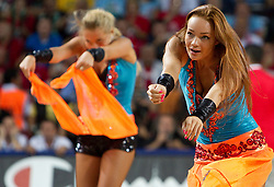 Cheerleaders perform during the finals basketball match between National teams of Turkey and USA at 2010 FIBA World Championships on September 12, 2010 at the Sinan Erdem Dome in Istanbul, Turkey.   (Photo By Vid Ponikvar / Sportida.com)