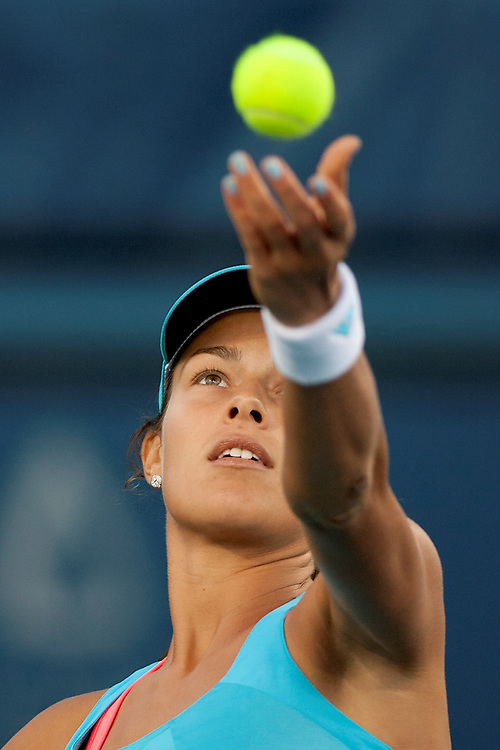San Diego, CA; August 6th, 2011 - Ana Ivanovic serves against opponent Vera Zvonareva in the Mercury Insurance WTA tennis tournament held at the La Costa Spa and Resort near San Diego. Zvonareva won the match 5-7 6-4 6-4. Photo by Wally Nell/ZUMA Press