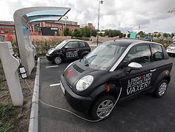 Electric cars being recharged at plug-in station at Lindholmen Science Park in Gothenburg Sweden