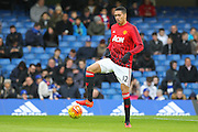 Chris Smalling of Manchester United in the warm up during the Barclays Premier League match between Chelsea and Manchester United at Stamford Bridge, London, England on 7 February 2016. Photo by Phil Duncan.