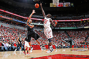 LOUISVILLE, KY - DECEMBER 2: Gorgui Dieng #10 of the Louisville Cardinals blocks a shot by Lance Goulbourne #5 of the Vanderbilt Commodores at KFC Yum! Center on December 2, 2011 in Louisville, Kentucky. Louisville defeated Vanderbilt 62-60 in overtime. (Photo by Joe Robbins) *** Local Caption *** Gorgui Dieng;Lance Goulbourne