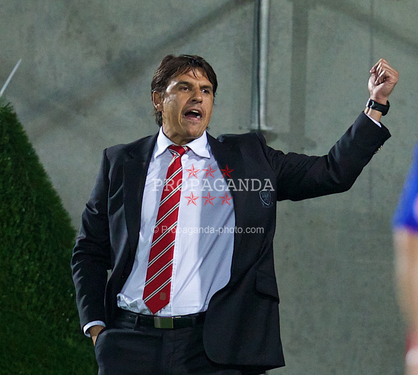 ANDORRA LA VELLA, ANDORRA - Tuesday, September 9, 2014: Wales' manager Chris Coleman during the opening UEFA Euro 2016 qualifying match against Andorra at the Camp d'Esports del M.I. Consell General. (Pic by David Rawcliffe/Propaganda)