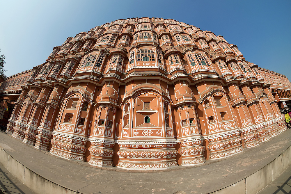 Fisheye view of Hawa Mahal in Jaipur