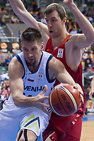 Spain Fran Vazquez and Slovenia Gasper Vidmar during FIBA European Qualifiers to World Cup 2019 between Spain and Slovenia at Coliseum Burgos in Madrid, Spain. November 26, 2017. (ALTERPHOTOS/Borja B.Hojas)