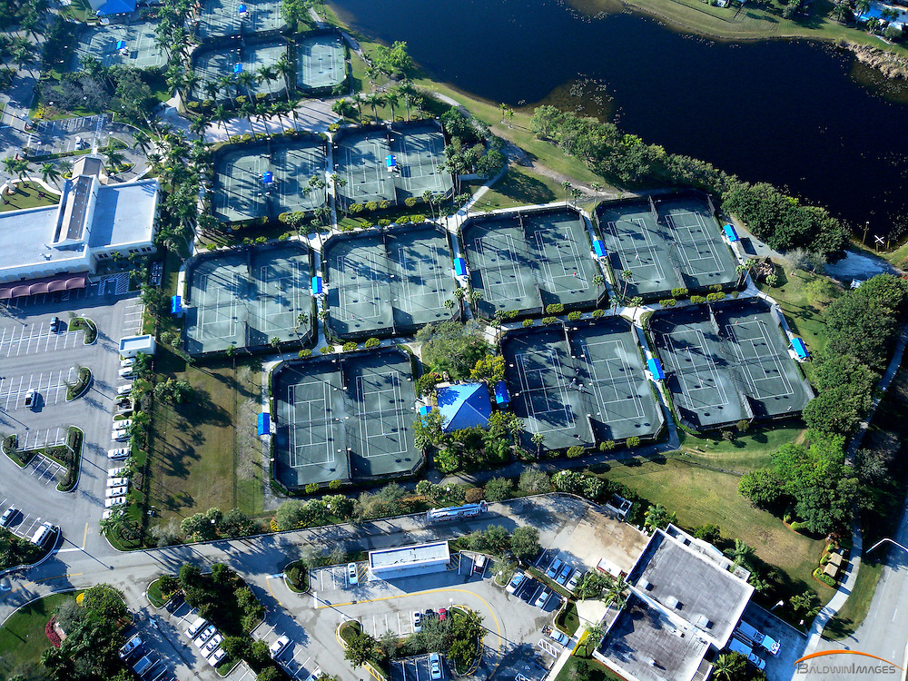Aerial view of tennis center at Weston Hills Country Club, Weston, Florida
