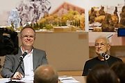 """12th Biennale of Architecture. Sala delle Colonne at Ca' Giustinian. Hans Ulrich Obrist (l.), Switzerland, speaking with Frank O. Gehry (r.) for his project """"Now Interviews"""", 2010."""