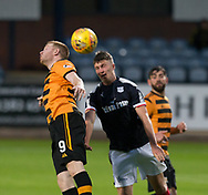 Alloa Athletic's Craig Malcolm and Dundee&rsquo;s Jordan Piggott battle in the air - Dundee under 20s v Alloa Athletic in the Irn Bru Cup Round 1 at Dens Park, Dundee - photograph by David Young<br /> <br />  - &copy; David Young - www.davidyoungphoto.co.uk - email: davidyoungphoto@gmail.com