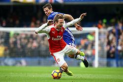Nacho Monreal of Arsenal is tackled by Cesar Azpilicueta of Chelsea - Mandatory by-line: Jason Brown/JMP - 04/01/2017 - FOOTBALL - Stamford Bridge - London, England - Chelsea v Arsenal - Premier League