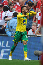 Norwich Nathan Redmond Celebrates after scoring Norwich second Goal, Middlesbrough v Norwich, Sky Bet Championship, Play Off Final, Wembley Stadium, Monday  25th May 2015