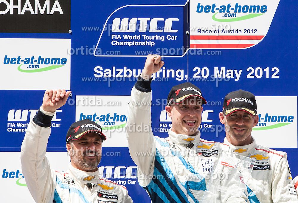 """20.05.2012, Salzburgring, Salzburg, AUT, FIA, WTTC Rennen 1, im Bild Podium: zweiter: #1, Yvan Muller (FRA),  Chevrolet, Chevrolet Cruze 1.6 T, Sieger: #2, Robert Huff (GBR), Chevrolet, Chevrolet Cruze 1.6 T und dritter: #8, Alain Menu (SUI), Chevrolet, Chevrolet Cruze 1.6 T // during the FIA WTCC Series Austrian Race one, held at the """"Salzburgring"""" near Salzburg, Austria on 2012/05/20. EXPA Pictures © 2012, PhotoCredit: EXPA/ Juergen Feichter"""