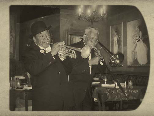 Horn players on Beale Street, Saturday night in Memphis, Tennessee.