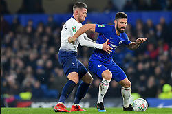 January 24, 2019 - London, England, United Kingdom - Tottenham defender Toby Alderweireld hassles Chelsea forward Olivier Giroud  during the Carabao Cup match between Chelsea and Tottenham Hotspur at Stamford Bridge, London on Thursday 24th January 2019. (Credit Image: © Mark Fletcher/NurPhoto via ZUMA Press)