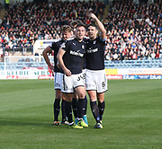 30th September 2017, Dens Park, Dundee, Scotland; Scottish Premier League football, Dundee versus Hearts; Dundee's Kerr Waddell is congratulated after scoring by Darren O'Dea