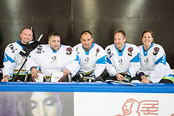 Anze Baselj, Marko Miklavic - Gusar, Marko Pangerc, Tilen Trotovsek and Barbara Kavcic at Poslovilna tekma Tomaza Razingarja, on July 16, 2016 in Ledena dvorana, Bled, Slovenia. Photo by Matic Klansek Velej / Sportida