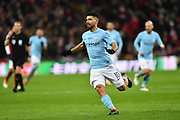 Sergio Aguero (10) of Manchester City during the EFL Cup Final match between Arsenal and Manchester City at Wembley Stadium, London, England on 25 February 2018. Picture by Graham Hunt.