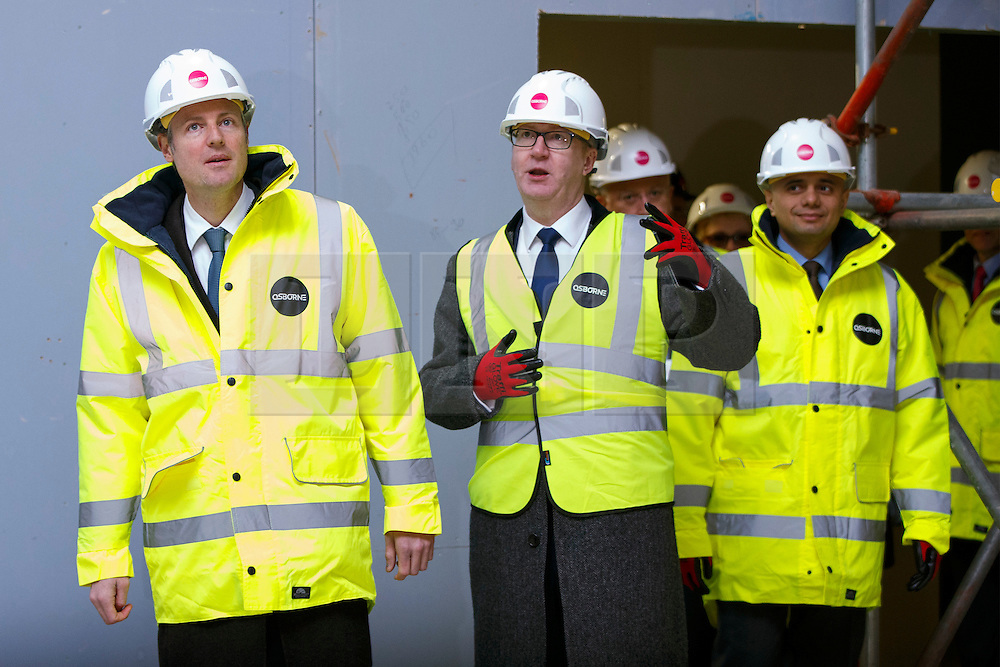 © Licensed to London News Pictures. 15/03/2016. London, UK. Conservative candidate for Mayor of London Zac Goldsmith (L) and Business Secretary Sajid Javid (R) visit the construction site of Barnet & Southgate College's new campus to unveil Zac Goldsmith's new housing pledges as part of his action plan for Greater London. Photo credit: Tolga Akmen/LNP