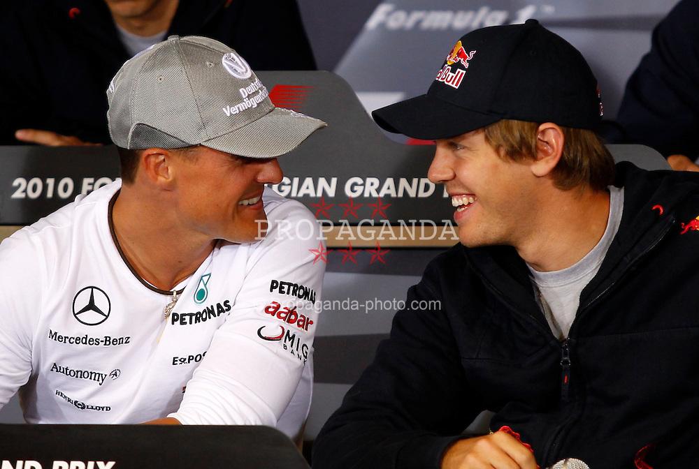 Motorsports / Formula 1: World Championship 2010, GP of Belgium, 03 Michael Schumacher (GER, Mercedes GP Petronas),   05 Sebastian Vettel (GER, Red Bull Racing),