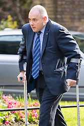 Downing Street, London, April 12th 2016. Deputy Chairman of the Conservative Party Robert Halfon arrives at the weekly cabinet meeting. &copy;Paul Davey<br /> FOR LICENCING CONTACT: Paul Davey +44 (0) 7966 016 296 paul@pauldaveycreative.co.uk