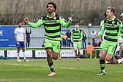 Forest Green Rovers Reuben Reid(26) scores a goal 1-0 and celebrates during the EFL Sky Bet League 2 match between Forest Green Rovers and Mansfield Town at the New Lawn, Forest Green, United Kingdom on 24 March 2018. Picture by Shane Healey.