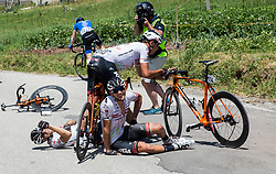 Crash of Filippo Fortin (ITA) of Tirol Cycling Team and Matthias Krizek (AUT) of Tirol Cycling Team during last Stage 4 of 24th Tour of Slovenia 2017 / Tour de Slovenie from Rogaska Slatina to Novo mesto (158,2 km) cycling race on June 18, 2017 in Slovenia. Photo by Vid Ponikvar / Sportida