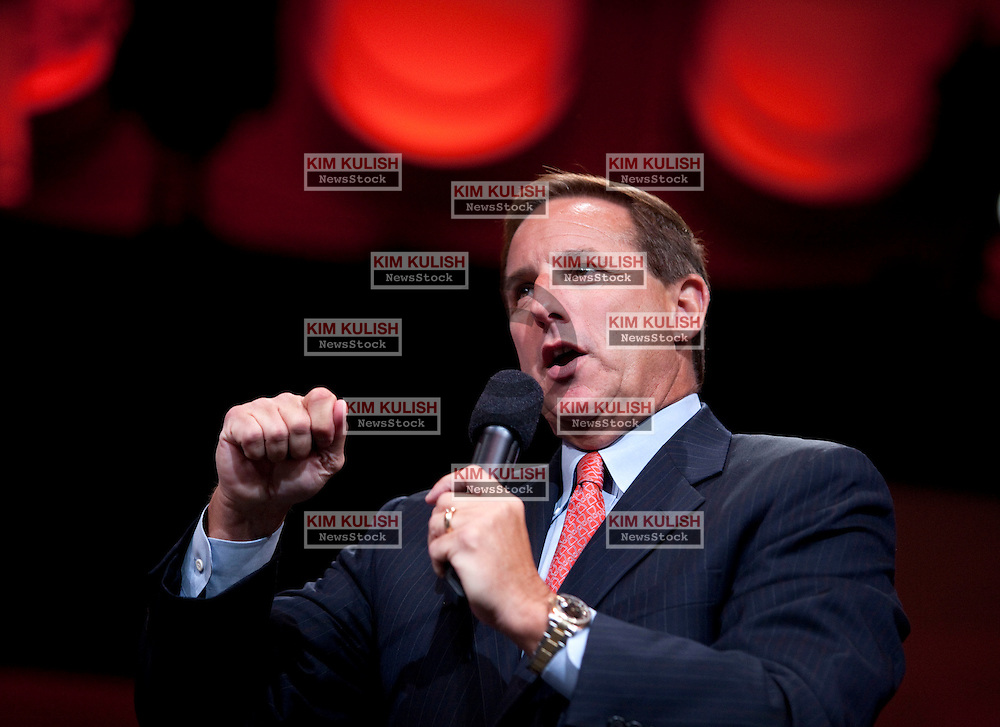 Mark Hurd, co-president of Oracle Corp. introduces new products  at the annual Oracle OpenWorld conference in San Francisco, California.    This was one of the first public on-stage appearances by the former HP Ceo.