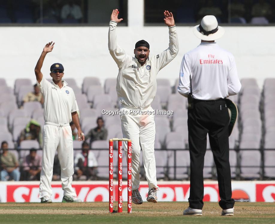 Indian Harbhajan Singh Appile against New Zealand batsman during the 3rd test match India vs New Zealand day-4 Played at Vidarbha Cricket Association Stadium, Jamtha, Nagpur, 23 November 2010 (5-day match)November 2010 (5-day match)